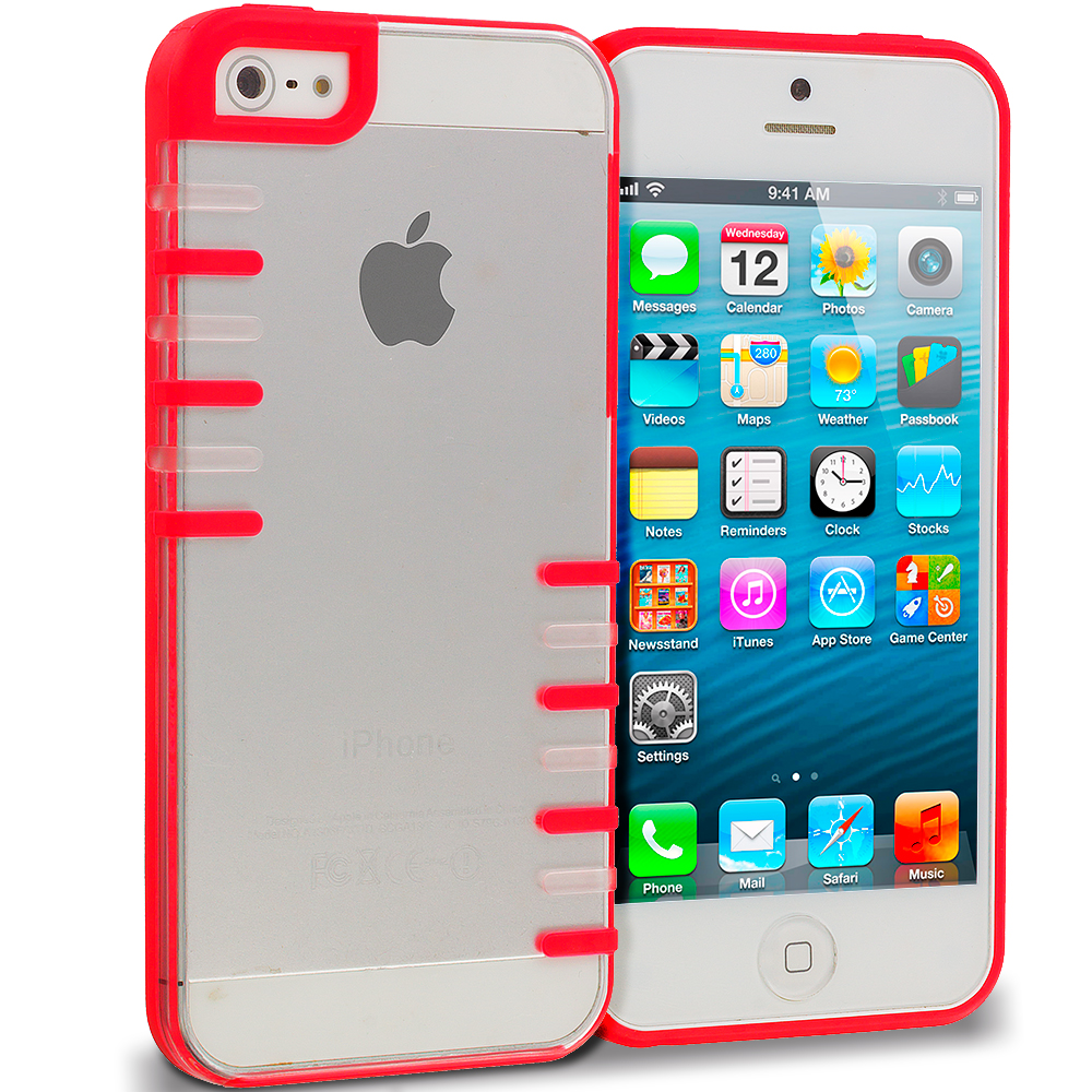 Apple iPhone 5/5S/SE Red Style 2 Crystal Robot Hard TPU Case Cover