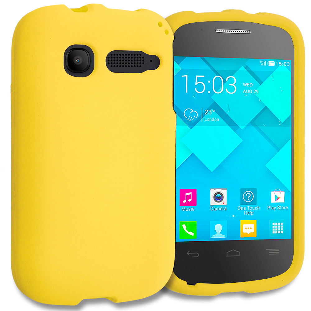 Alcatel One Touch Pop C1 Yellow Hard Rubberized Case Cover