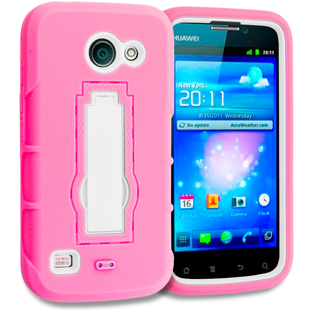 Huawei Tribute Fusion 3 Y536A1 Hot Pink / White Hybrid Heavy Duty Hard Soft Case Cover with Kickstand