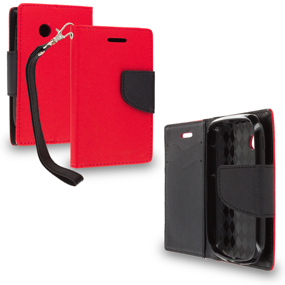 LG 306G / Aspire LN280 Red / Black Leather Flip Wallet Pouch TPU Case Cover with ID Card Slots
