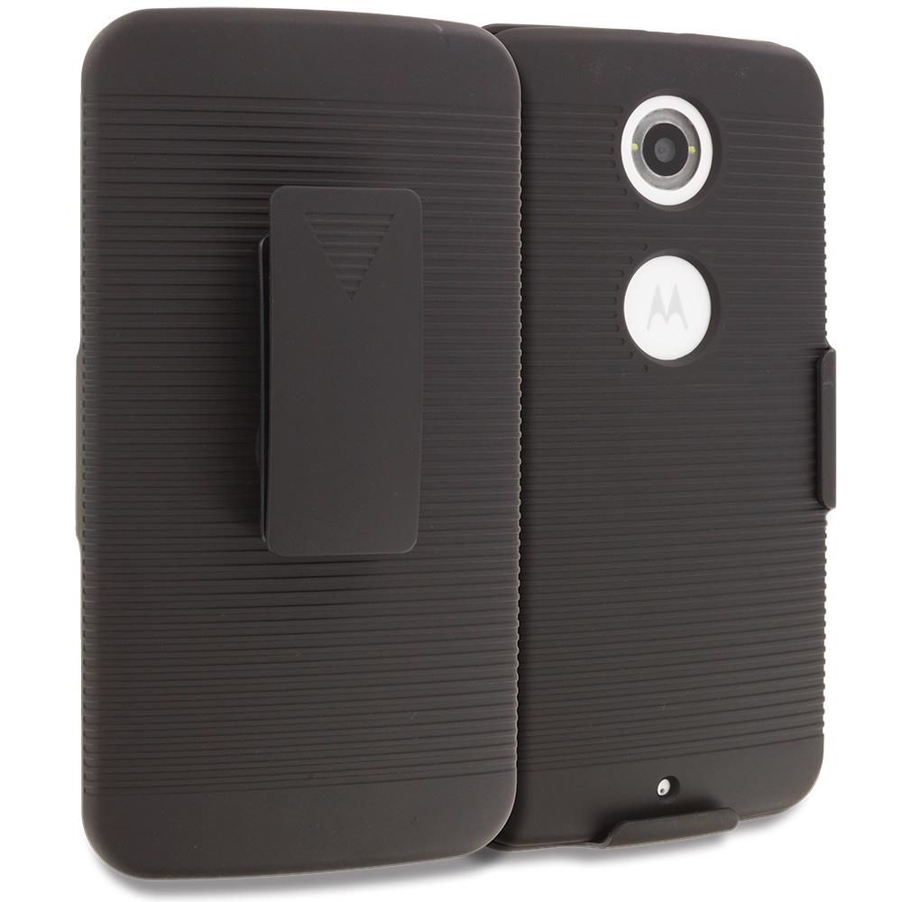 Motorola Google Nexus 6 Black Belt Clip Holster Hard Case Cover