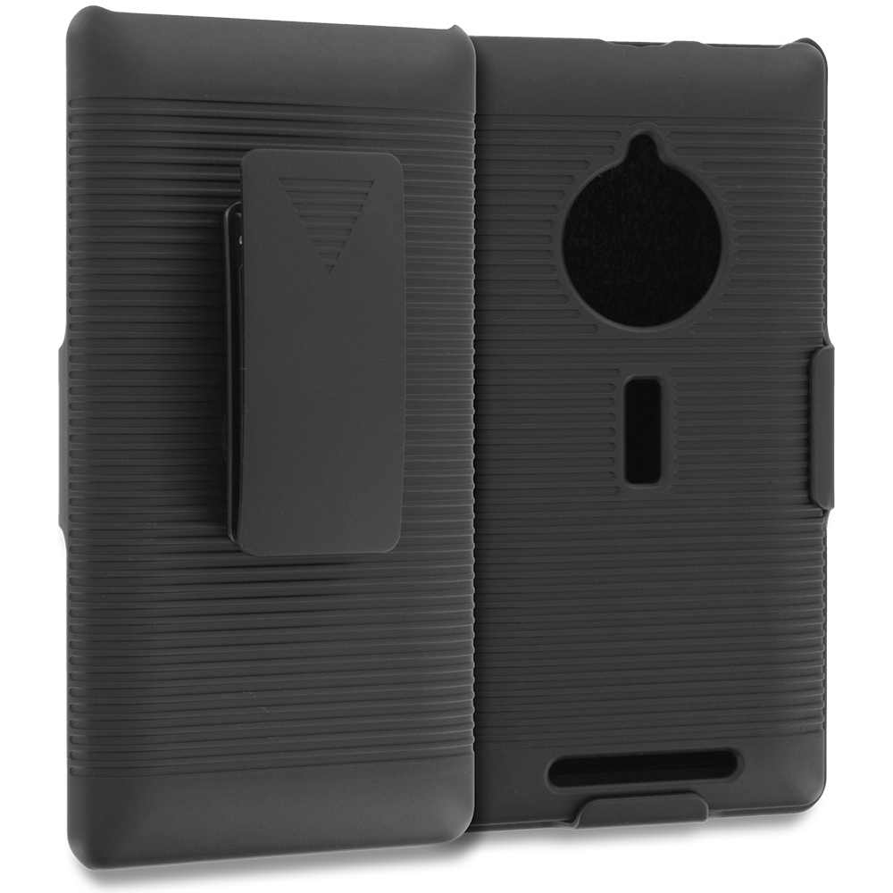 Nokia Lumia 830 Black Belt Clip Holster Hard Case Cover