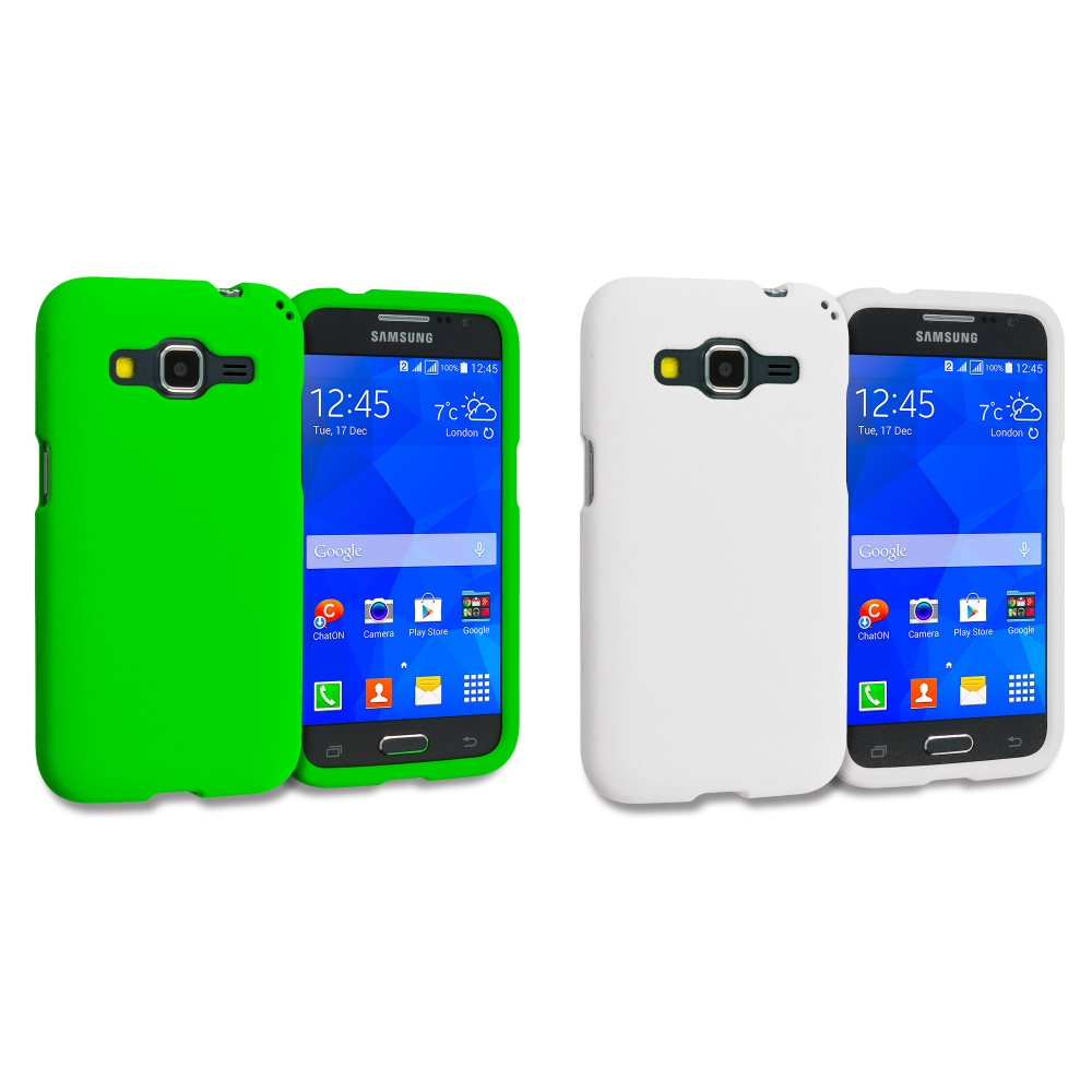 Samsung Galaxy Prevail LTE Core Prime G360P / Prevail LTE 2 in 1 Combo Bundle Pack - White Green Hard Rubberized Case Cover