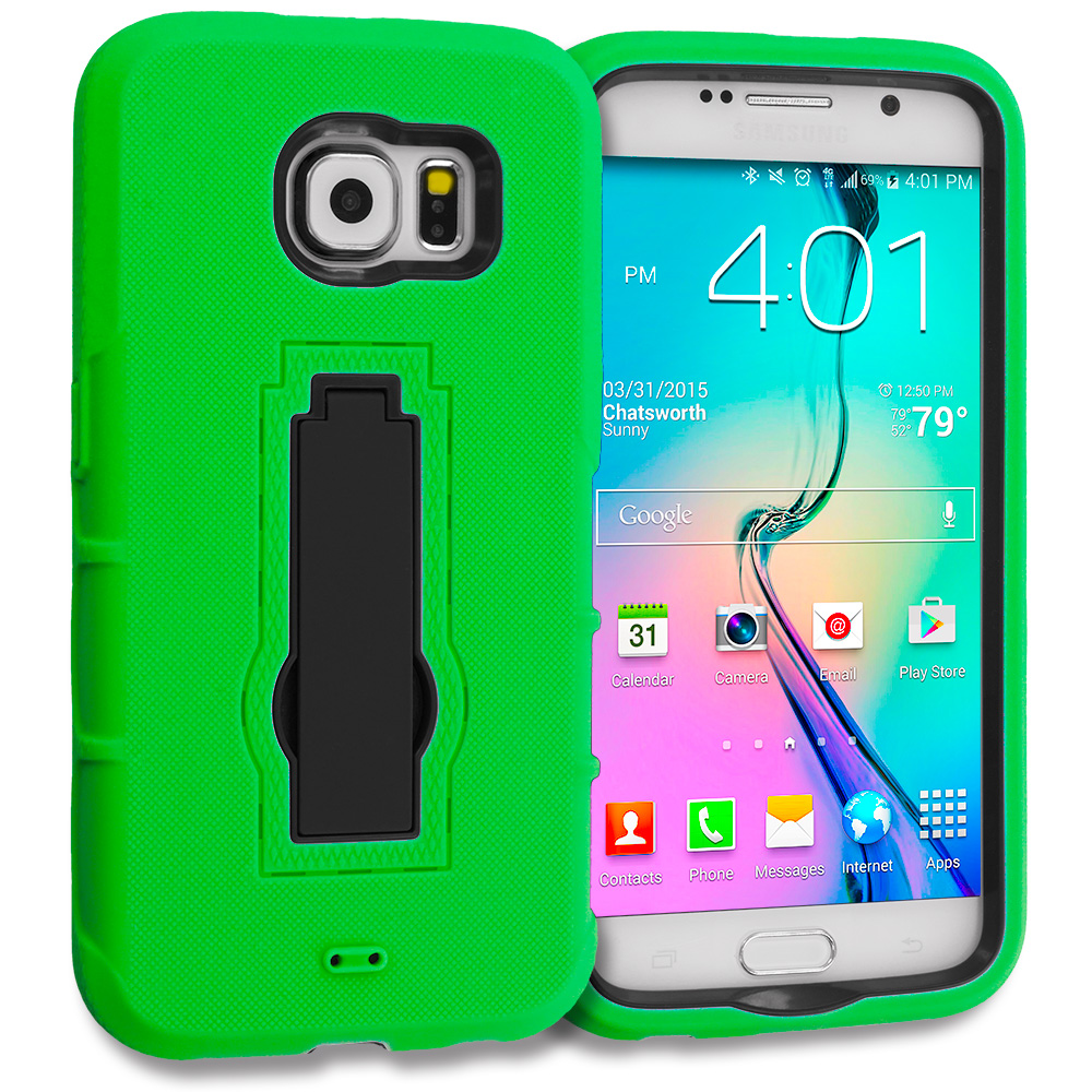 Samsung Galaxy S6 Combo Pack : Neon Green / Black Hybrid Heavy Duty Hard Soft Case Cover with Kickstand : Color Neon Green / Black