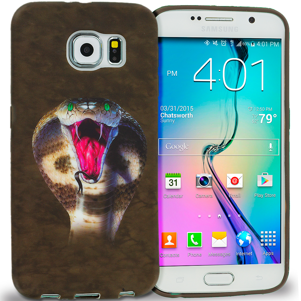 Samsung Galaxy S6 Combo Pack : Tiger TPU Design Soft Rubber Case Cover : Color Kobra