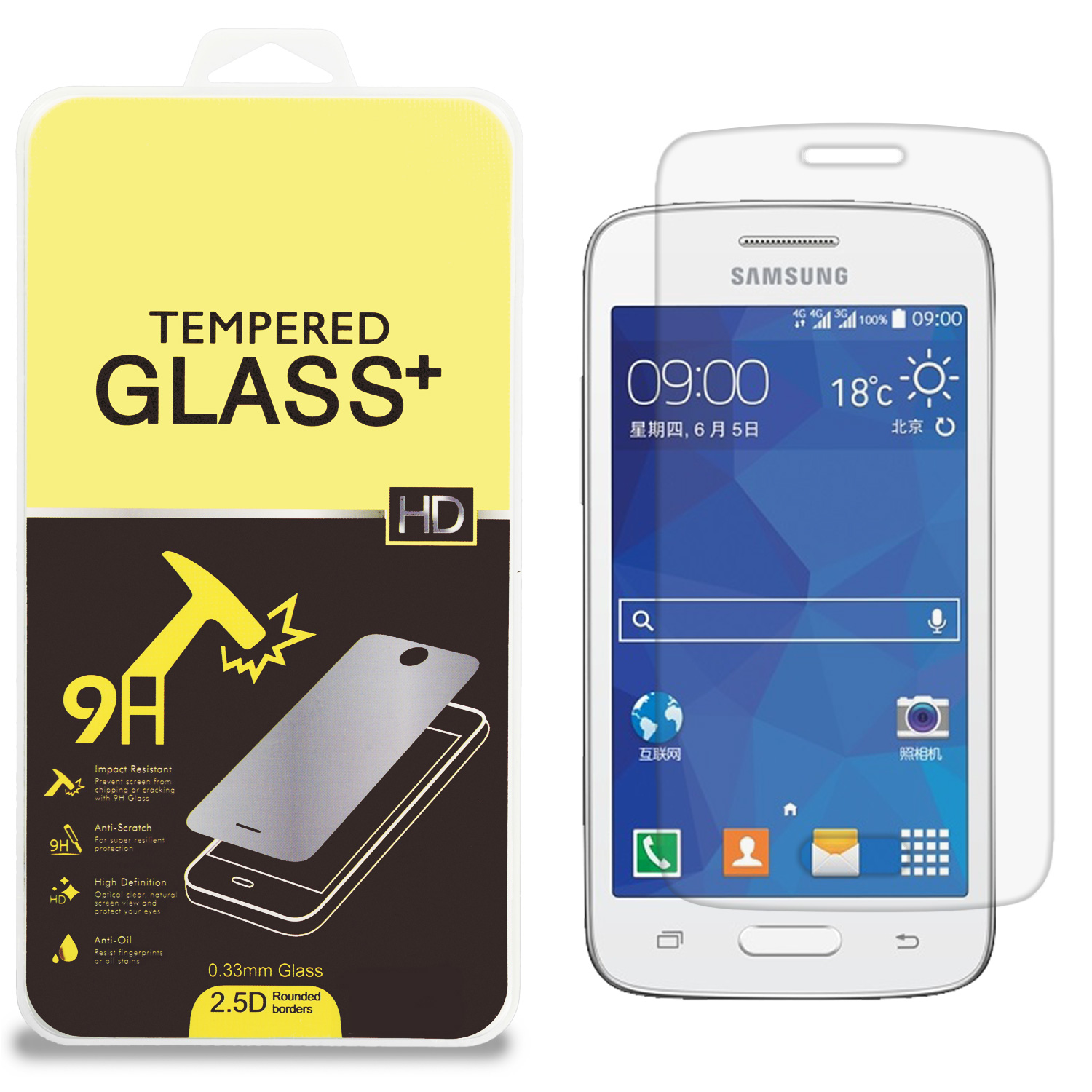 Samsung Galaxy Core Mini G3568V Clear Tempered Glass High Quality 0.33mm LCD Screen Protector