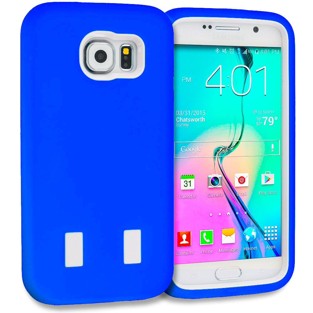 Samsung Galaxy S6 Combo Pack : Blue / White Hybrid Deluxe Hard/Soft Case Cover : Color Blue / White