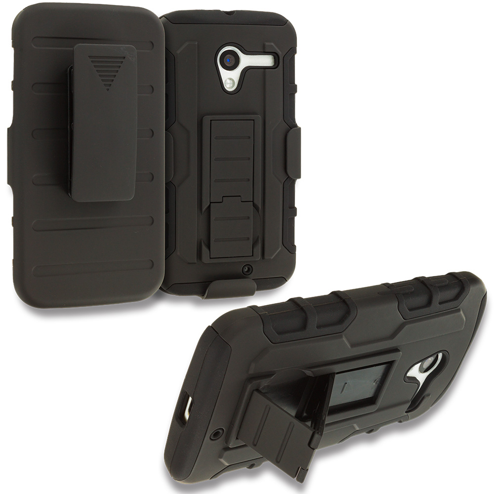 Motorola Moto X Black Hybrid Rugged Robot Armor Heavy Duty Case Cover with Belt Clip Holster