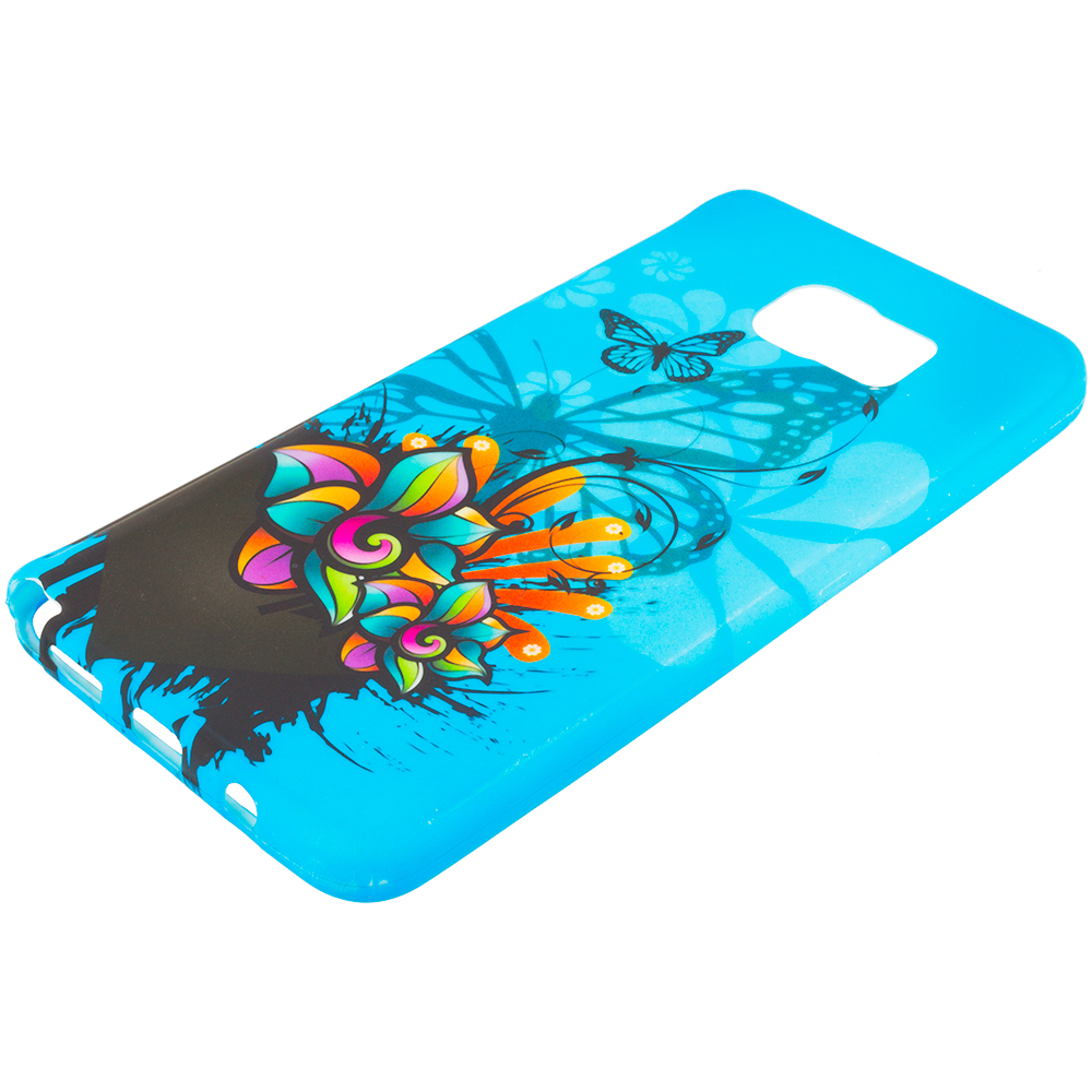 Samsung Galaxy Note 5 Blue Butterfly Flower TPU Design Soft Rubber Case Cover