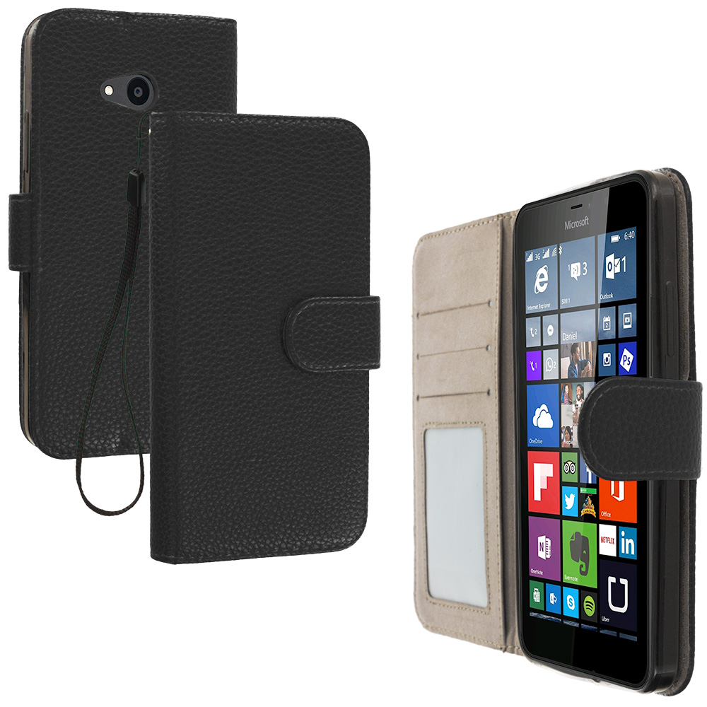 Microsoft Lumia 640 2 in 1 Combo Bundle Pack - Black Pink Leather Wallet Pouch Case Cover with Slots : Color Black