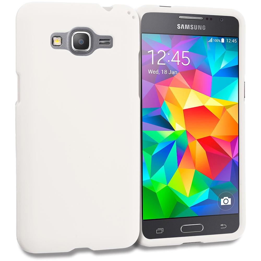 Samsung Galaxy Grand Prime LTE G530 White Hard Rubberized Case Cover