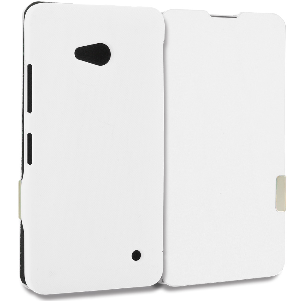 Microsoft Lumia 640 White Magnetic Flip Wallet Case Cover Pouch