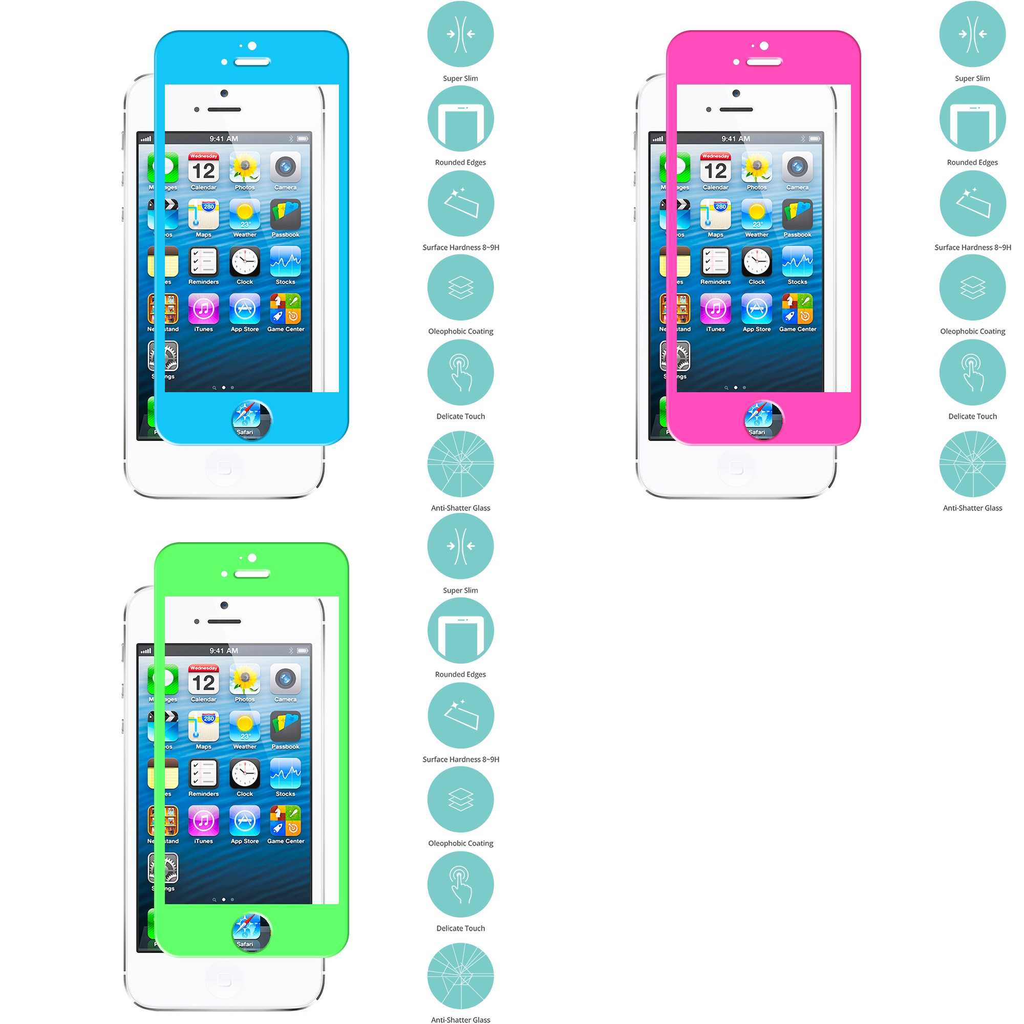 Apple iPhone 5 / 5S / 5C Combo Pack : Baby Blue Tempered Glass Film Screen Protector Colored