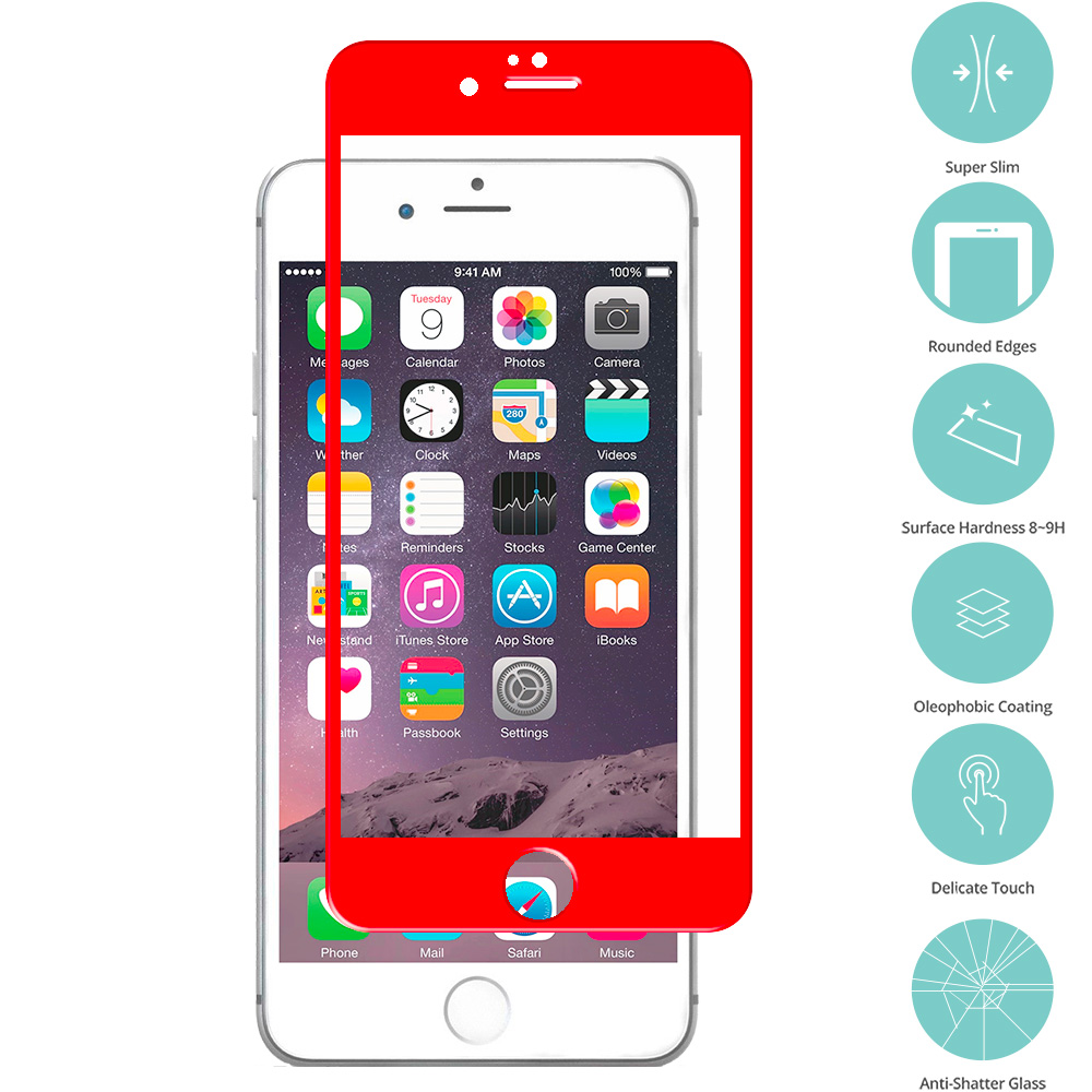 Apple iPhone 6 Plus 6S Plus (5.5) Red Tempered Glass Film Screen Protector Colored