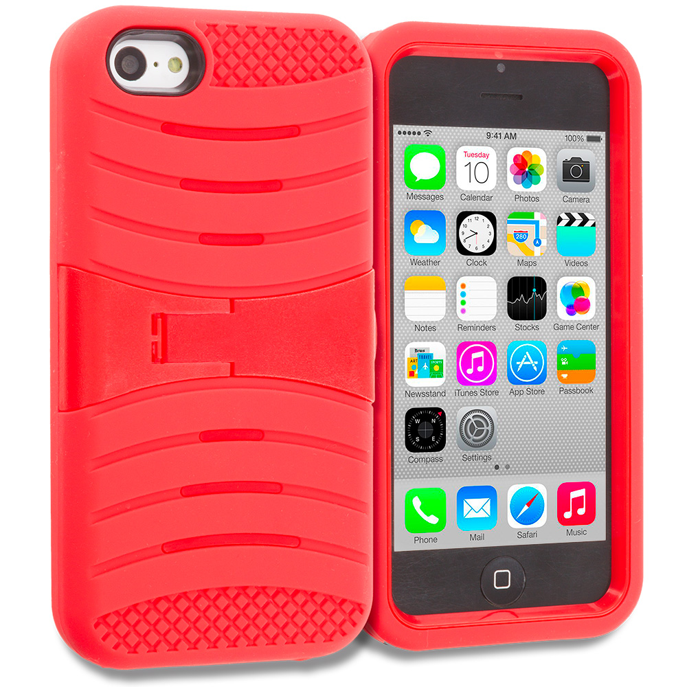 Apple iPhone 5C Red / Red Hybrid Heavy Duty Shockproof Case Cover with Stand