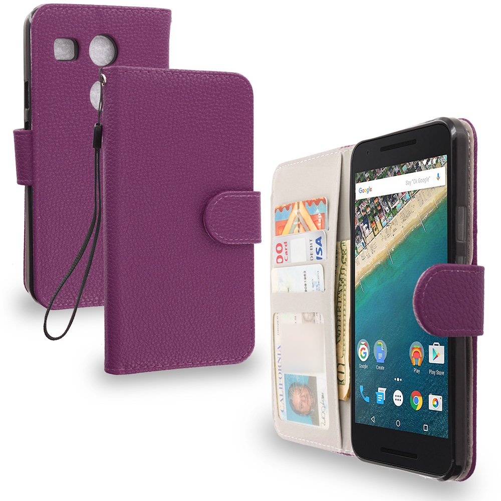 LG Google Nexus 5X Purple Leather Wallet Pouch Case Cover with Slots