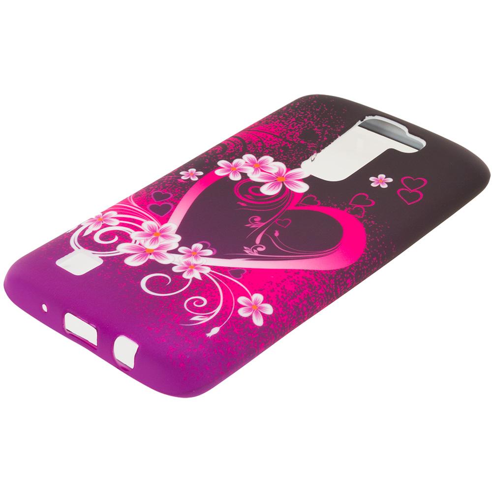 LG Tribute 5 K7 Phoenix 2 Escape 3 Treasure Purple Love TPU Design Soft Rubber Case Cover