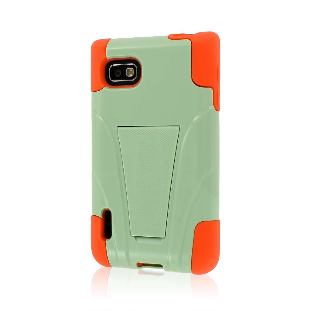 T-Mobile LG Optimus F3 - Coral / Mint MPERO IMPACT X - Kickstand Case Cover