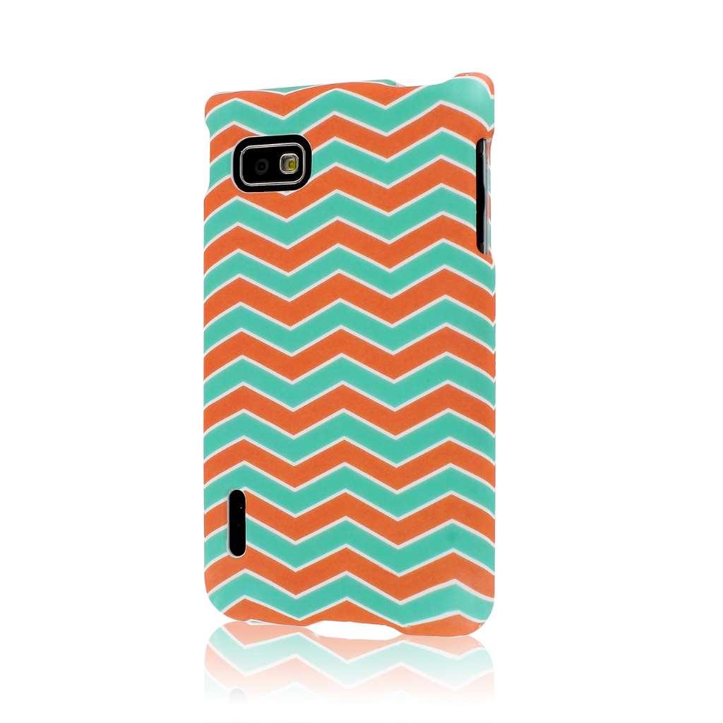 T-Mobile LG Optimus F3 - Mint Chevron MPERO SNAPZ - Rubberized Case Cover