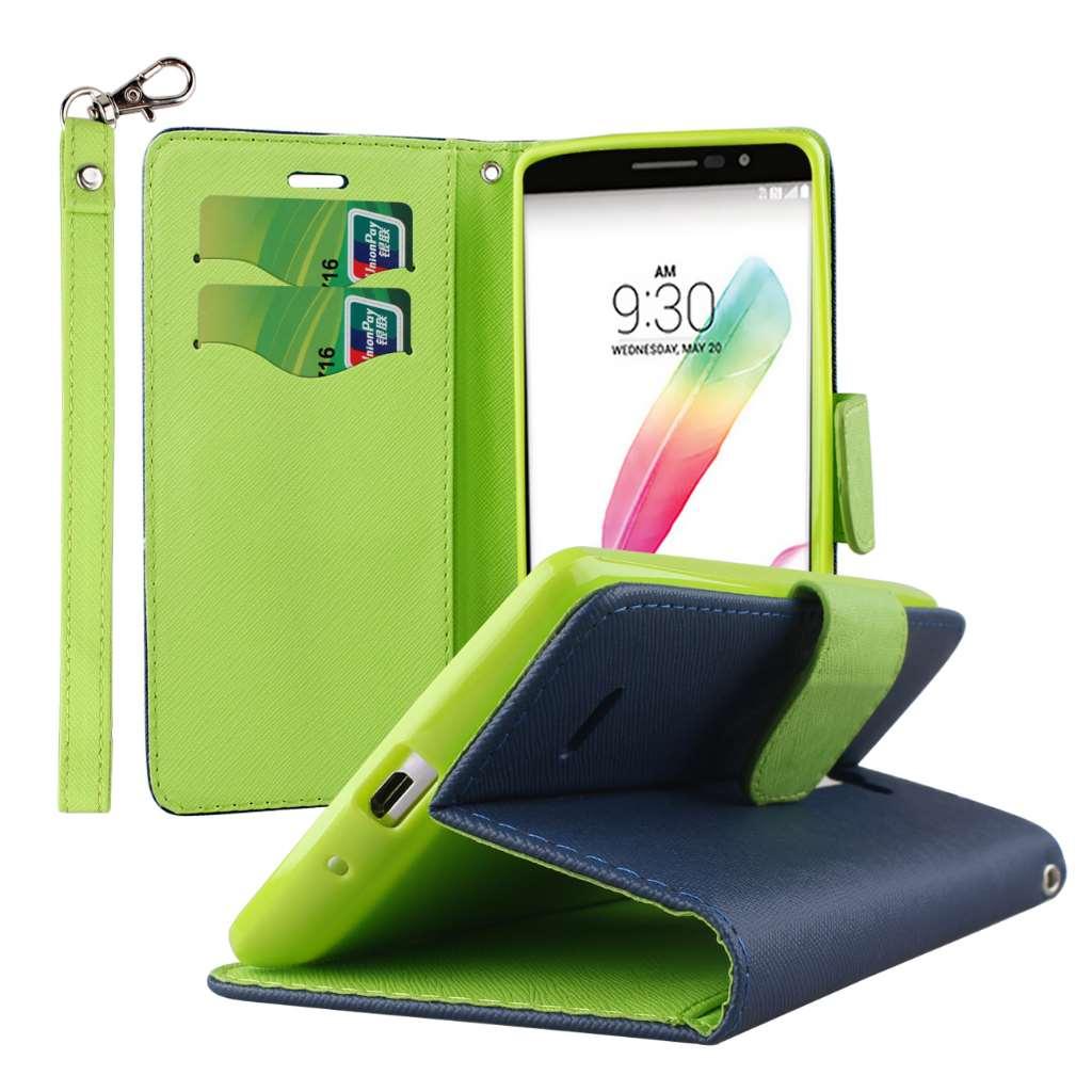 LG G Stylo - Blue MPERO FLEX FLIP 2 Wallet Stand Case Cover