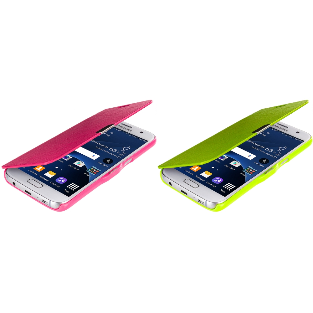 Samsung Galaxy S7 Combo Pack : Hot Pink Magnetic Flip Wallet Case Cover Pouch