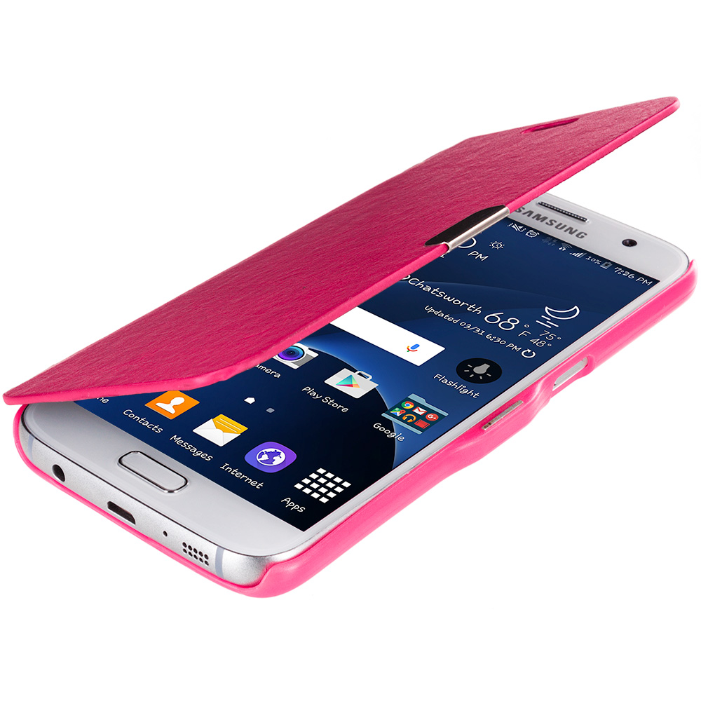 Samsung Galaxy S7 Combo Pack : Baby Blue Magnetic Flip Wallet Case Cover Pouch : Color Hot Pink