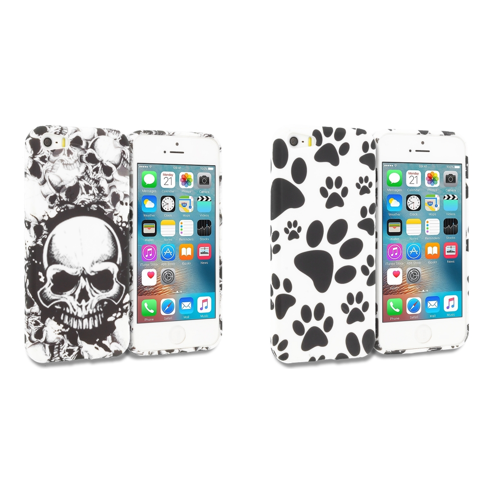 Apple iPhone 5/5S/SE Combo Pack : Black White Skulls TPU Design Soft Rubber Case Cover