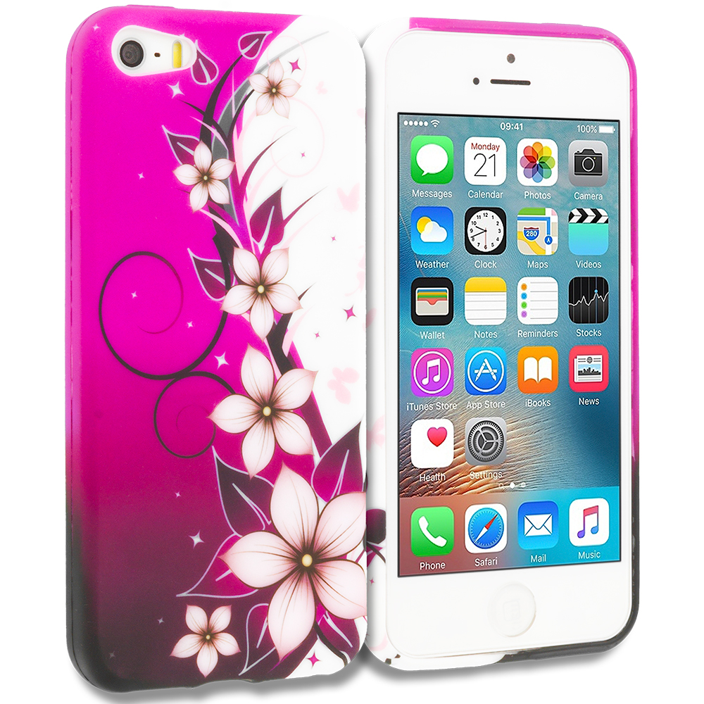 Apple iPhone 5/5S/SE Combo Pack : Purple Mixed Flower TPU Design Soft Rubber Case Cover : Color Purple Silver Vine Flower