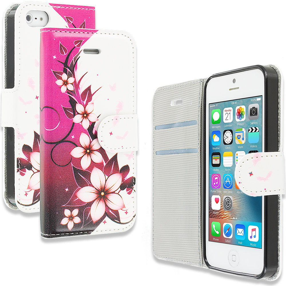 Apple iPhone 5/5S/SE Combo Pack : Pink Butterfly Flower Design Wallet Flip Pouch Case Cover with Credit Card ID Slots : Color Purple Silver Vine