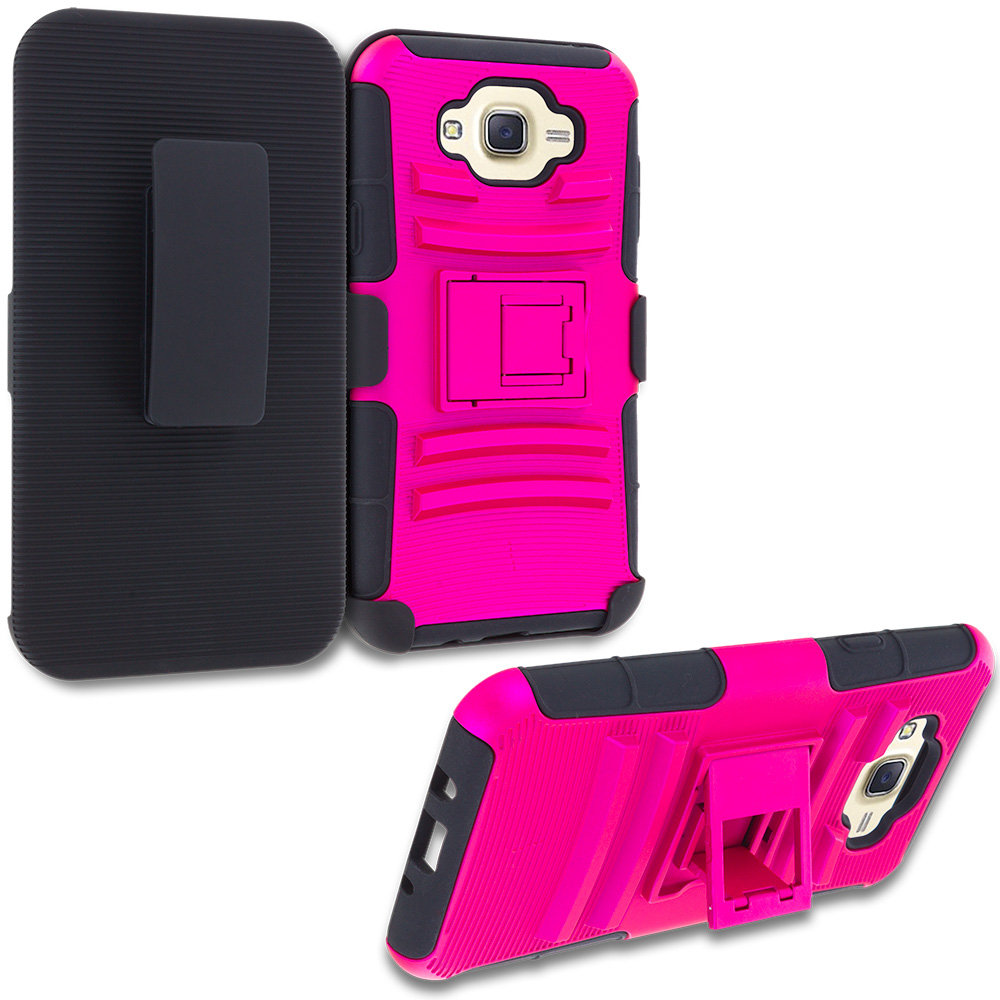 Samsung Galaxy J7 Hot Pink Hybrid Heavy Duty Rugged Case Cover with Belt Clip Holster