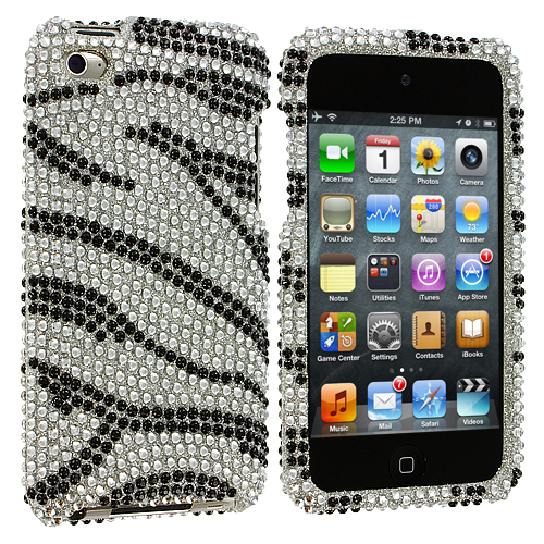 Apple iPod Touch 4th Generation Silver n Black Zebra Bling Rhinestone Case Cover