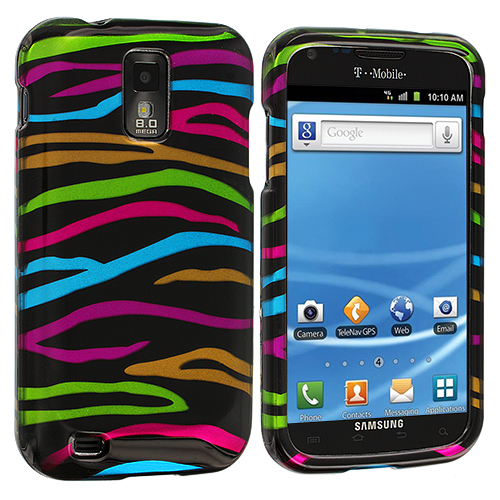 Samsung Hercules T989 T-Mobile Galaxy S2 Rainbow Zebra on Black Design Crystal Hard Case Cover