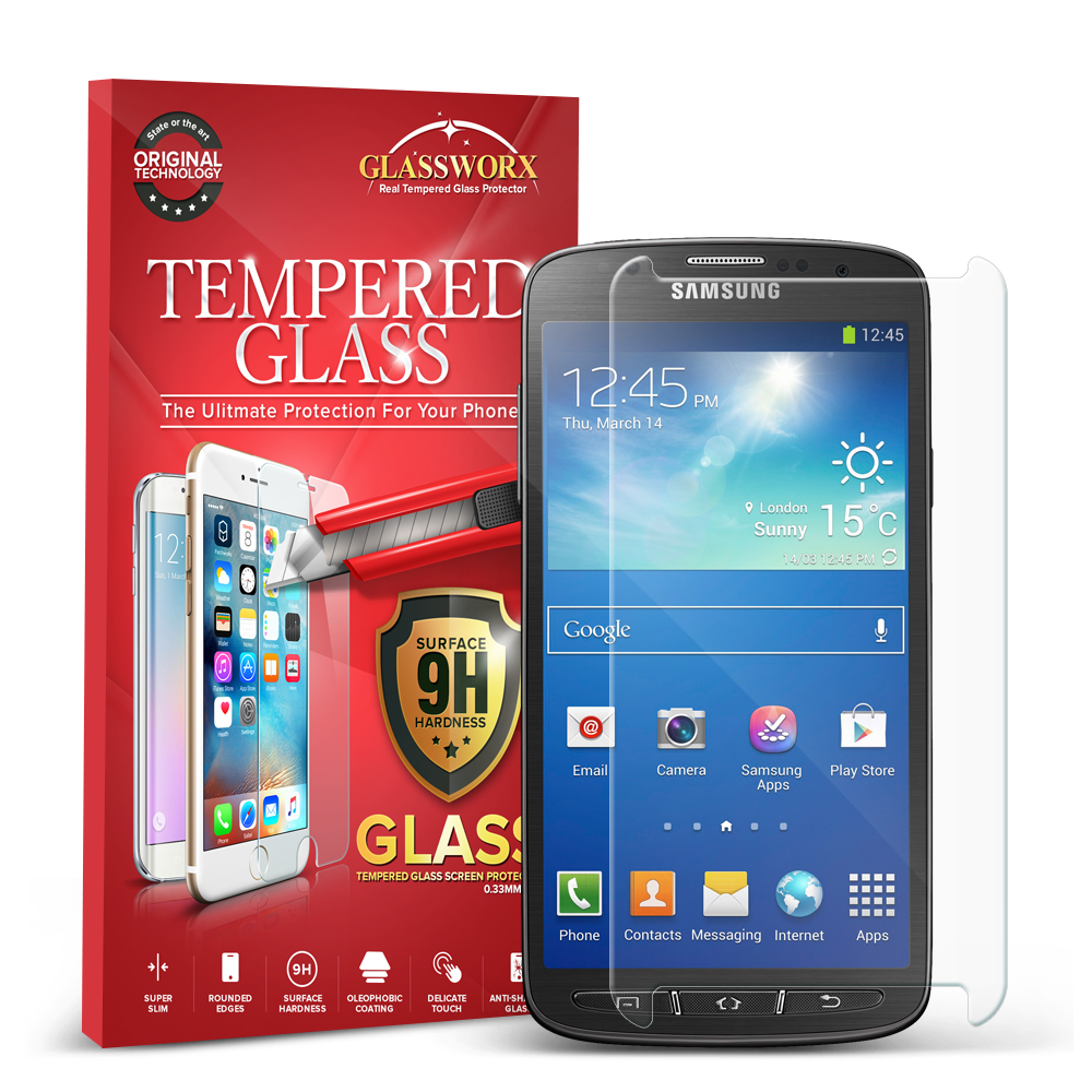 Samsung Galaxy S4 Active i537 Clear GlassWorX HD Tempered Glass Screen Protector