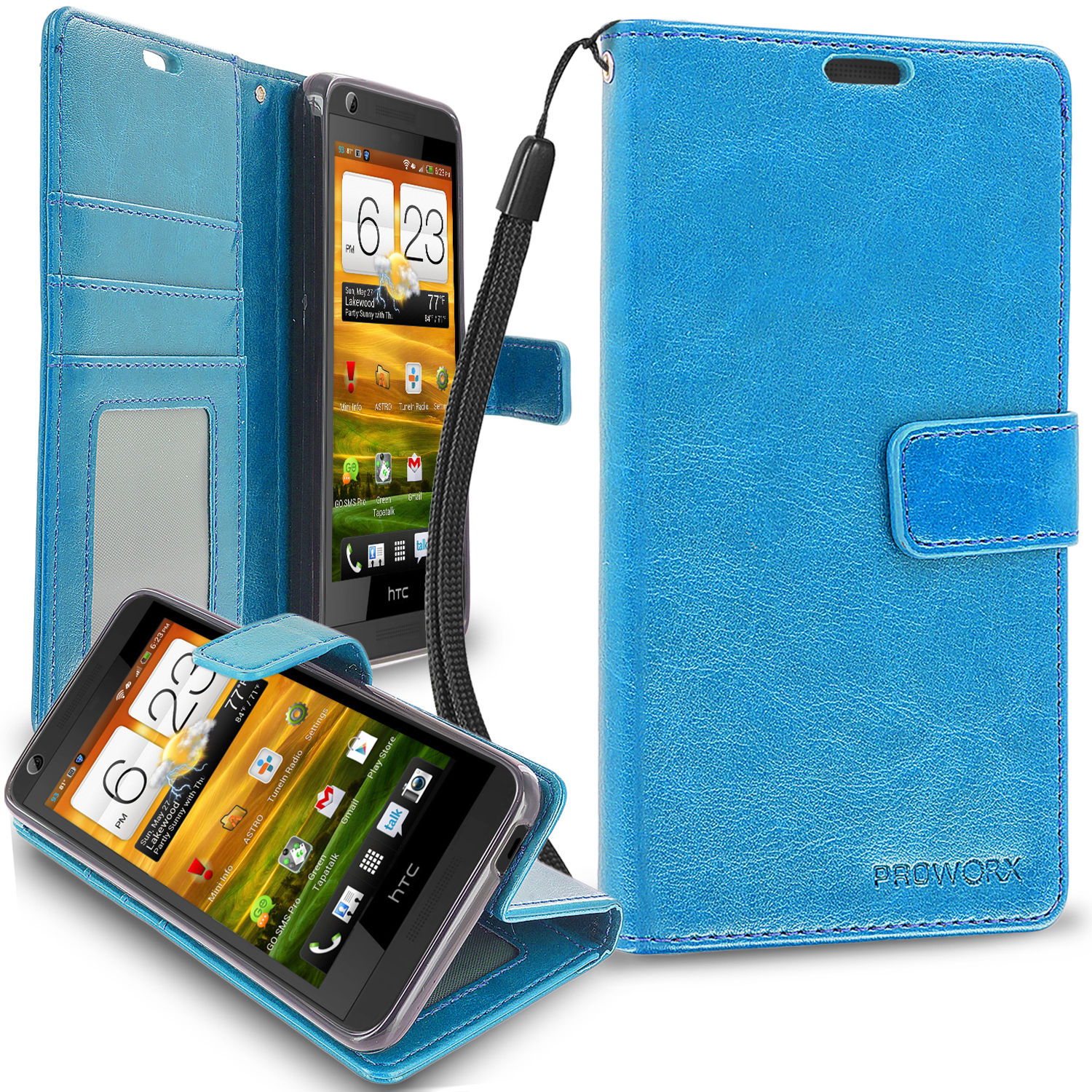 HTC Desire 626 / 626s Baby Blue ProWorx Wallet Case Luxury PU Leather Case Cover With Card Slots & Stand