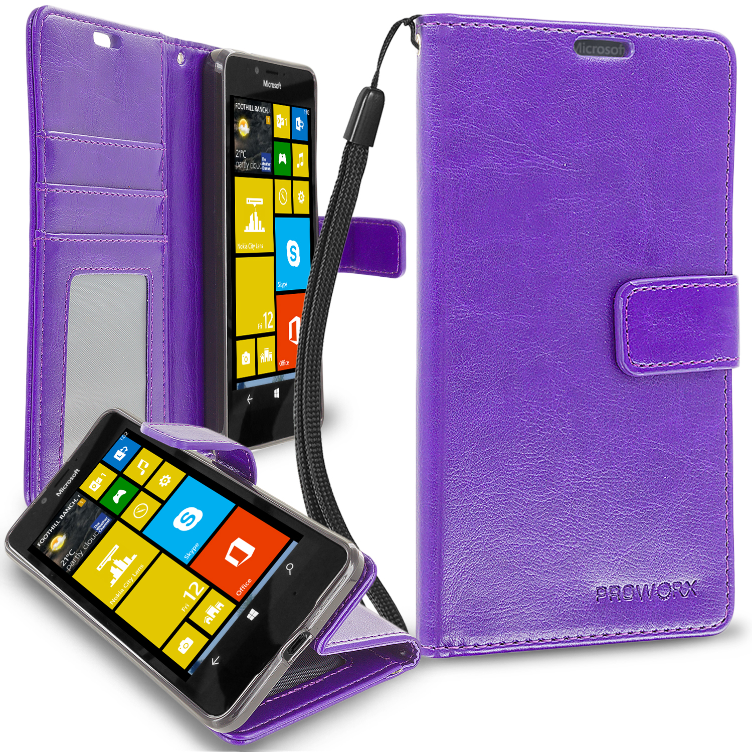 Microsoft Lumia 650 Purple ProWorx Wallet Case Luxury PU Leather Case Cover With Card Slots & Stand