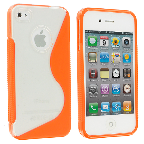 Apple iPhone 4 / 4S Clear / Orange S-Line TPU Rubber Skin Case Cover