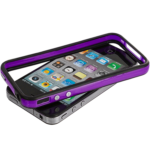 Apple iPhone 4 / 4S Black / Purple TPU Bumper with Metal Buttons