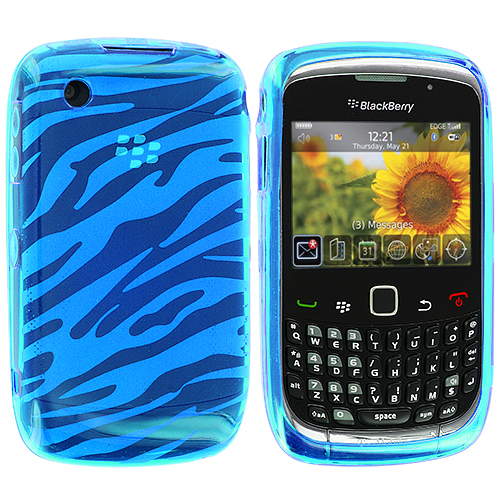 BlackBerry Curve 8520 8530 3G 9300 9330 Blue Zebra TPU Rubber Skin Case Cover