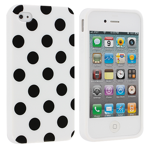Apple iPhone 4 / 4S White / Black TPU Polka Dot Skin Case Cover