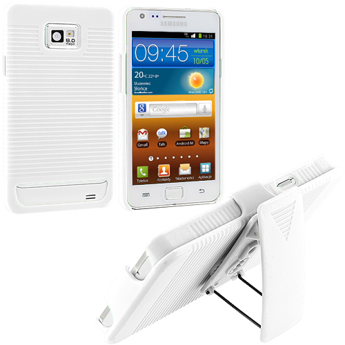 Samsung Galaxy S2 i9100 White Hard Rubberized Belt Clip Holster Case Cover