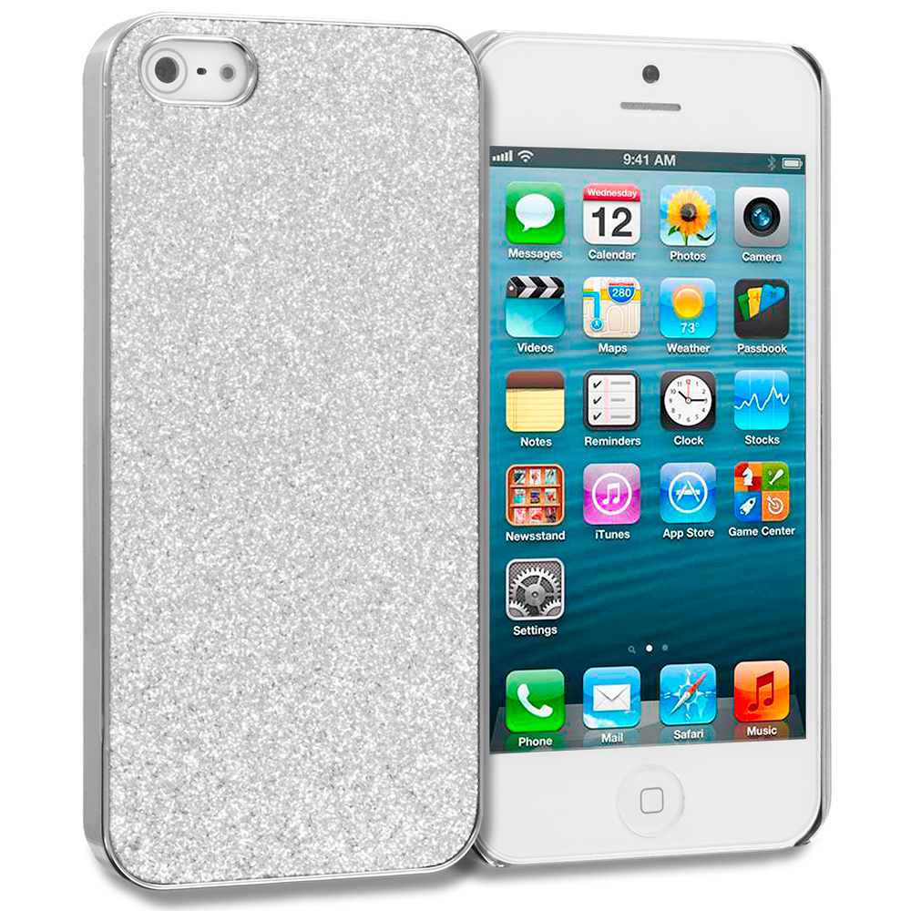 Apple iPhone 5/5S/SE Silver Glitter Case Cover