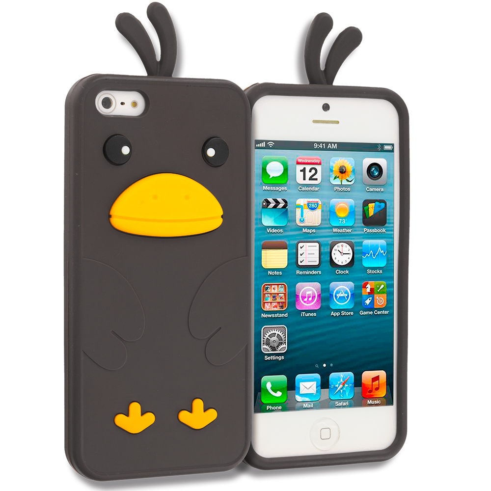 Apple iPhone 5 Black Chicken Silicone Design Soft Skin Case Cover