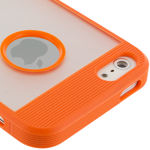 Apple iPhone 5/5S/SE Combo Pack : Orange Crystal TPU Hybrid TPU Case Cover : Color Orange Crystal TPU