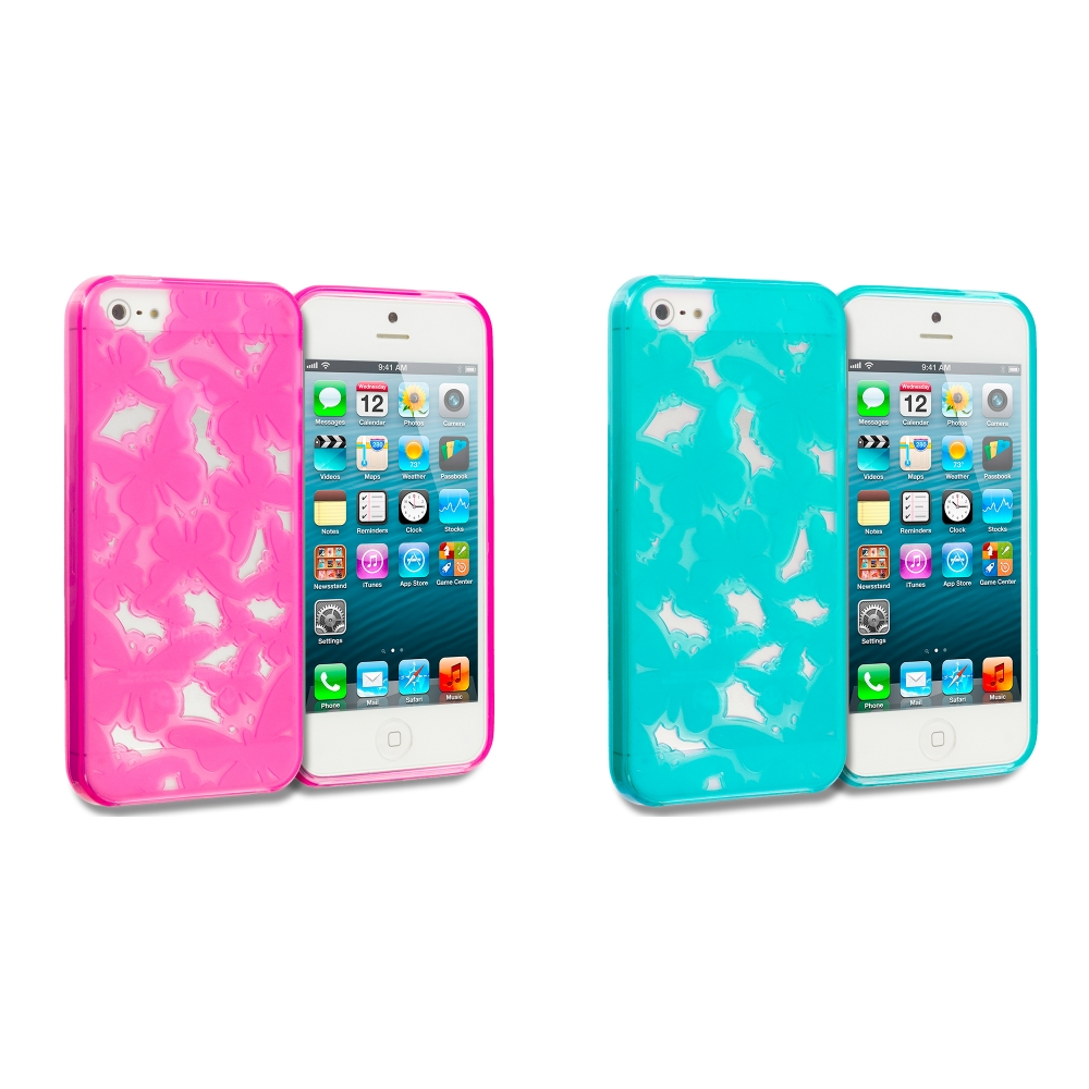 Apple iPhone 5/5S/SE Combo Pack : Pink Butterfly Cutout TPU Rubber Skin Case Cover