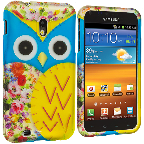 Samsung Epic Touch 4G D710 Sprint Galaxy S2 Blue Yellow Owl Hard Rubberized Design Case Cover