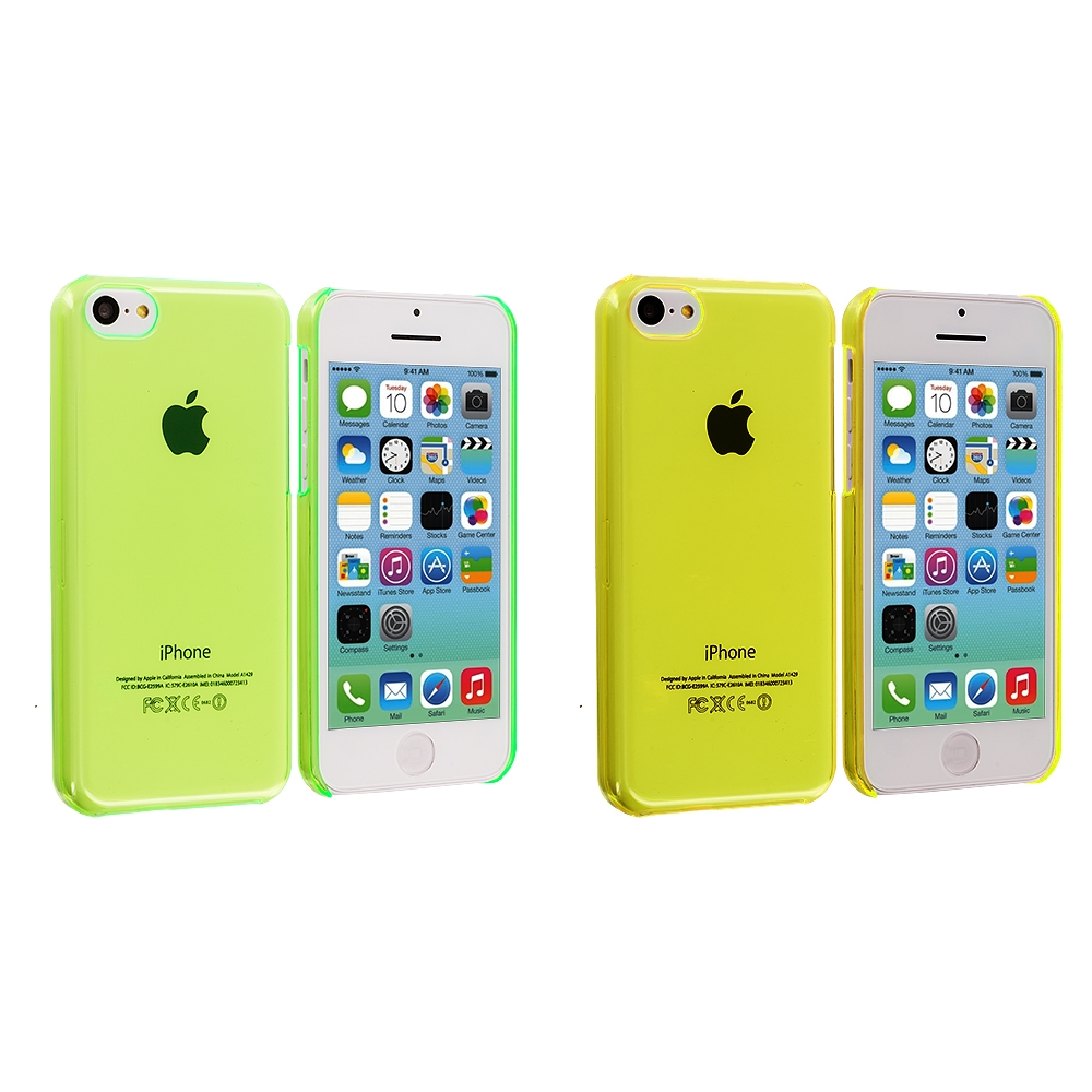 Apple iPhone 5C 2 in 1 Combo Bundle Pack - Neon Green Yellow Transparent Crystal Hard Back Cover Case