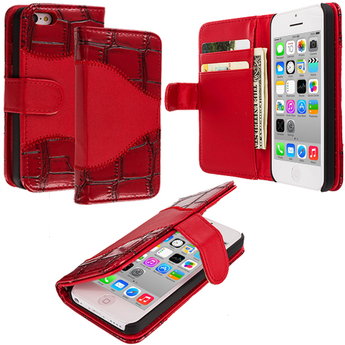 Apple iPhone 5C Red Crocodile Leather Wallet Pouch Case Cover with Slots