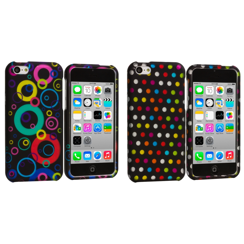 Apple iPhone 5C 2 in 1 Combo Bundle Pack - Colorful Bubbles / Circles Hard Rubberized Design Case Cover