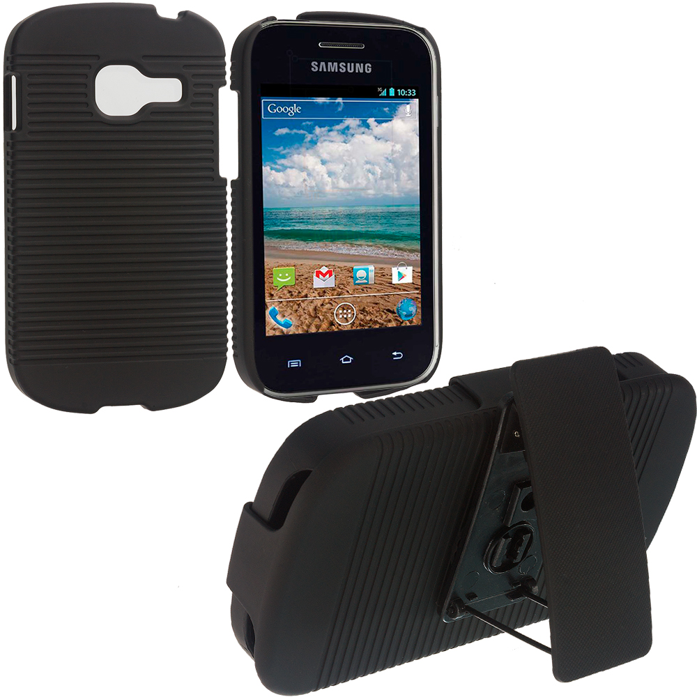 Samsung Galaxy Discover Centura S738C Black Hard Rubberized Belt Clip Holster Case Cover