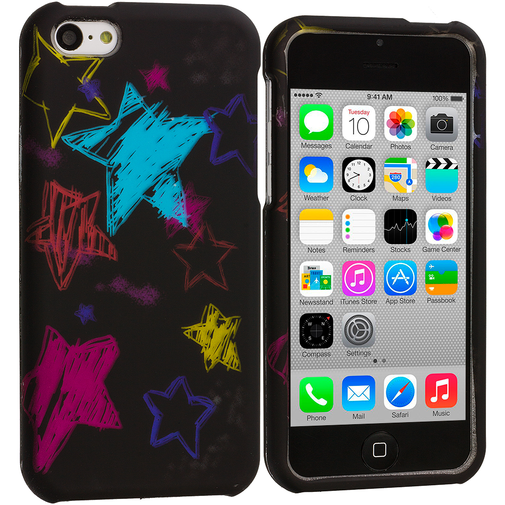 Apple iPhone 5C 2 in 1 Combo Bundle Pack - Star Clan Hard Rubberized Design Case Cover : Color ChalkBoard Stars